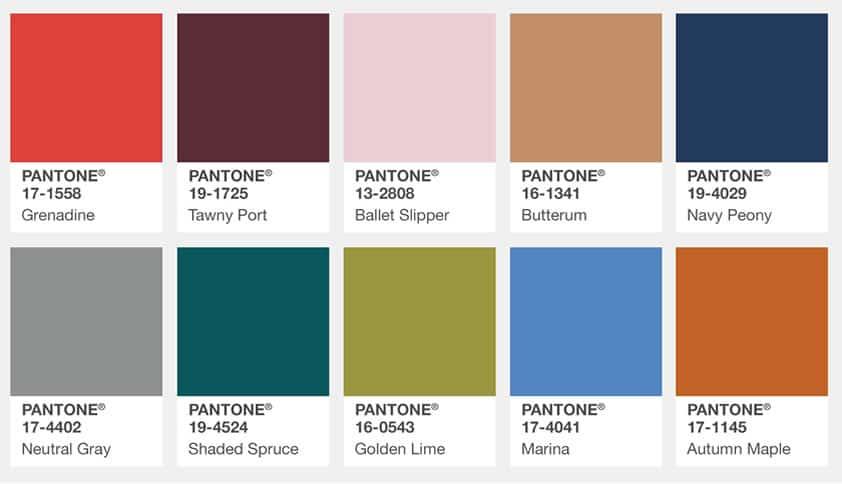 Tendências de cores da Pantone para a moda em 2017
