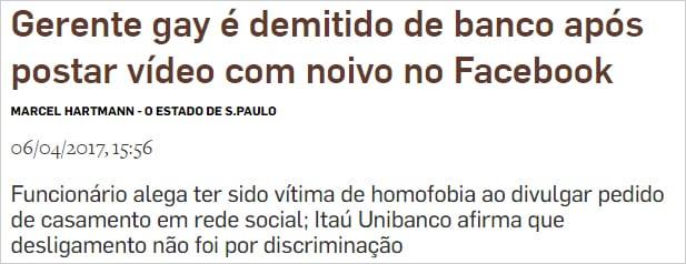 Gerente Itaú demitido após postar vídeo com noivo