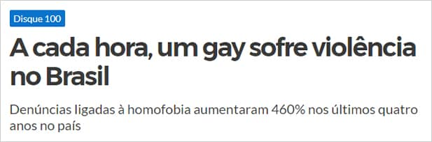 A cada hora um gay sofre violência no Brasil